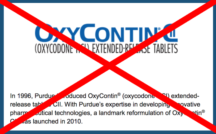 Purdue pharma L.P. stopping marketing oxycontin to doctors